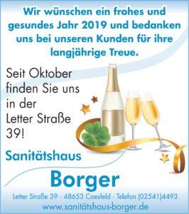 Sanitätshaus Borger, Weihnachten, Neujahr